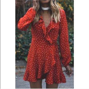 Red White Polka Dot Ruffle Wrap Tie Dress Small